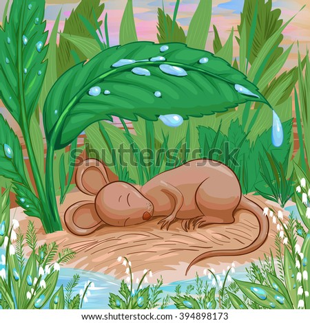 Mouse is slepping on a piece of dry land under rain. Brown pers hiding from the rain. Vector illustration in cartoon childish style suit for book or coloring. Tale  about homeless animal. - stock vector
