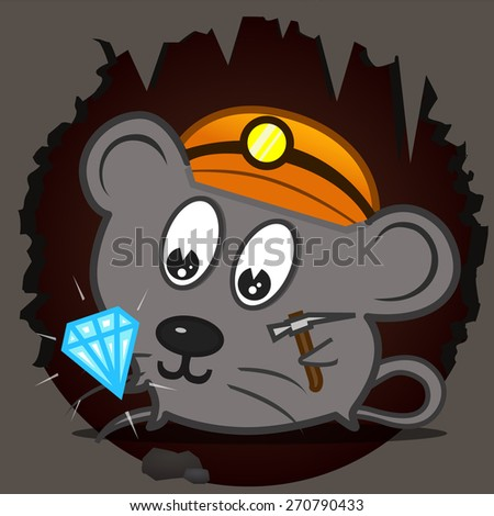 Mouse on cave. Cut cartoon character of mouse. Vector animal - stock vector