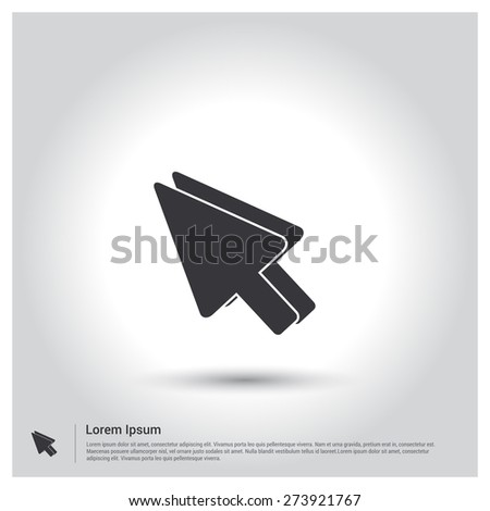Mouse pointer icon, pictogram icon on gray background. Vector illustration. Flat design style - stock vector
