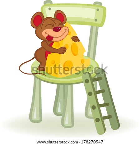 mouse with cheese on a chair - vector illustration - stock vector