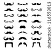 Moustache /  mustache icons isolated set - costume party - stock vector
