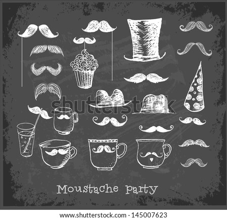 Moustache party objects on blackboard. Cups with moustaches, Sketchy vector illustration. - stock vector