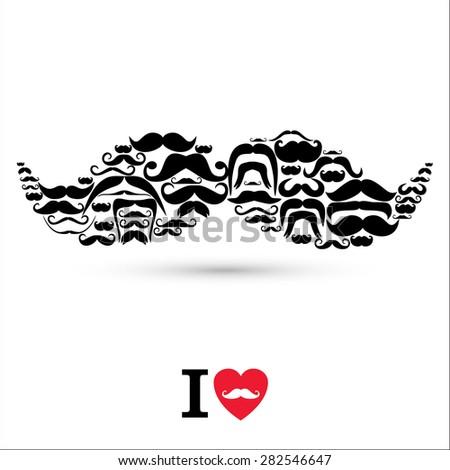 Moustaches set. Design elements. - stock vector