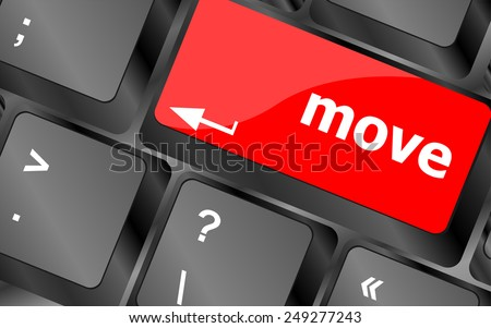 Move button word on keyboard keys - stock vector