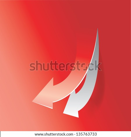 move down arrow on red background - stock vector