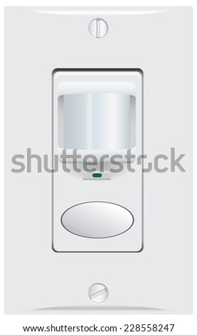 Movement and sound indoor sensor for automatic switching of light. Vector illustration. - stock vector