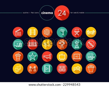 Movie and Cinema colorful flat icons set for web and mobile app. EPS10 vector file organized in layers for easy editing. - stock vector