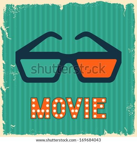 Movie and cinema retro background. - stock vector