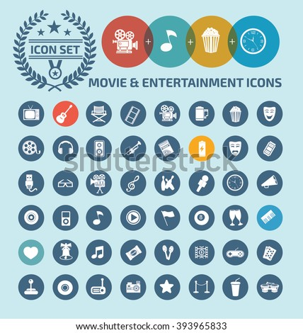 Movie and entertainment icon set design,clean vector - stock vector