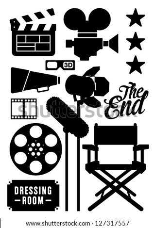 Movie and Film Icons, Symbols - stock vector