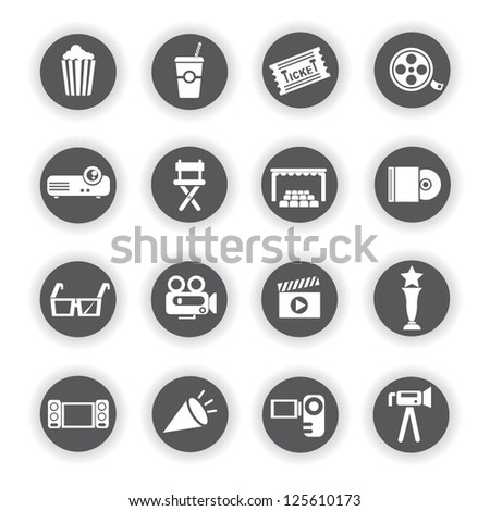 movie and media icon set - stock vector