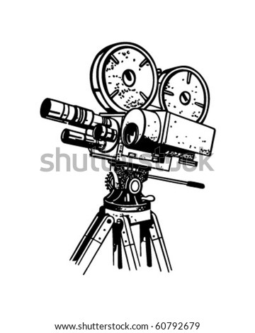 Movie Camera - Retro Clip Art - stock vector