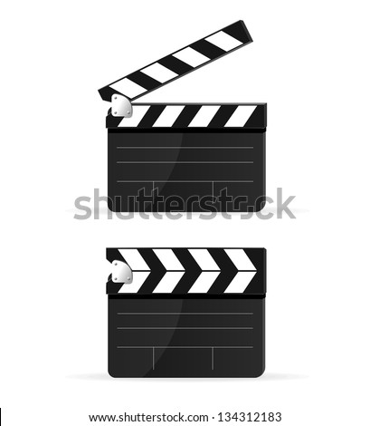 Movie clapper board set isolated - stock vector