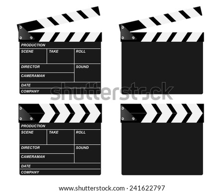 Movie clapper board vectors. Open, closed and blank.  - stock vector