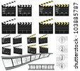 movie clapper white and yellow illustration and film - stock vector