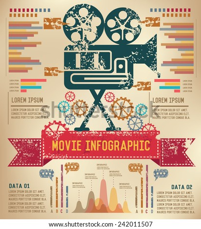 Movie concept  info graphic design on old paper,grunge vector - stock vector