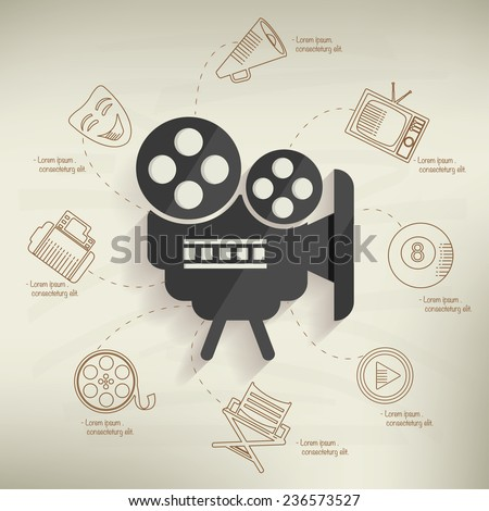 Movie design,info graphic on old paper background,clean vector - stock vector