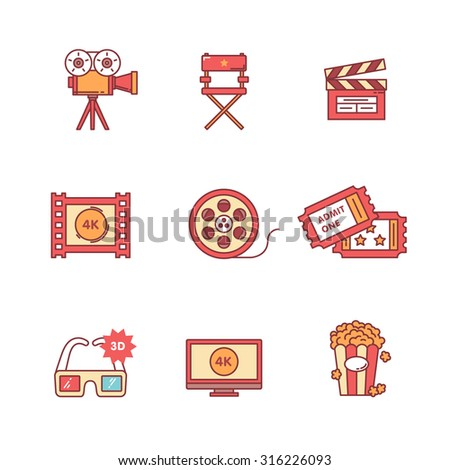 Movie, film and video icons thin line set. Flat style color vector symbols isolated on white. - stock vector