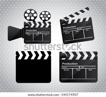 movie film over gray dotted background vector illustration - stock vector