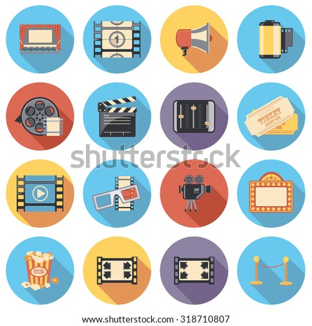 movie flat circle icon set - stock vector