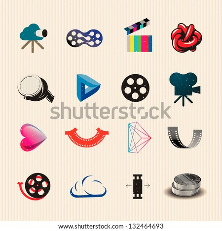 Movie icon set, vector illustration. - stock vector