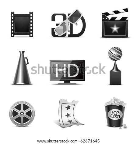 Movie icons | B&W series - stock vector