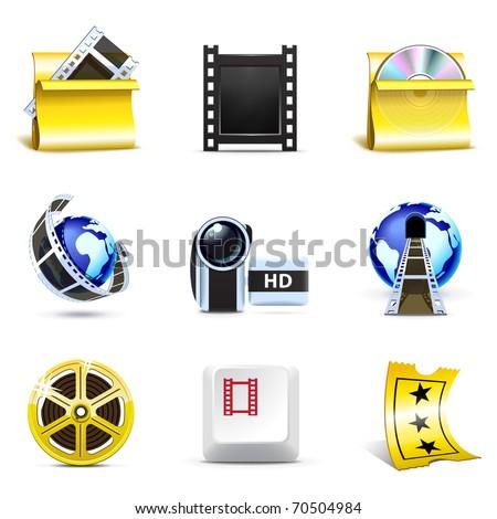 Movie icons | Bella series - stock vector