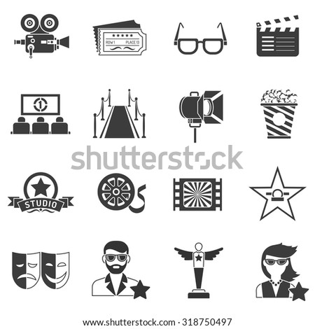 Movie icons black set with actor filmstrip and award isolated vector illustration - stock vector