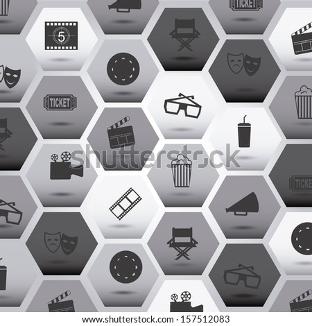 movie icons over gray background vector illustration - stock vector