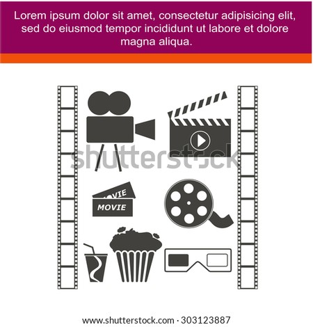 Movie icons set. Cinema symbols. Film icons. - stock vector
