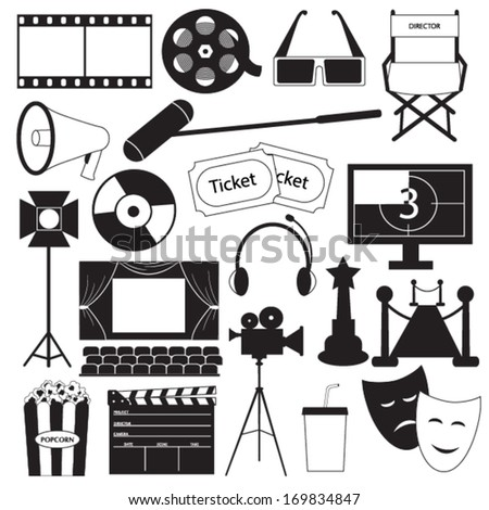 Movie icons vector collection - stock vector