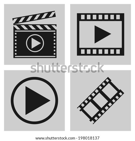 Movie icons. vector illustrations - stock vector