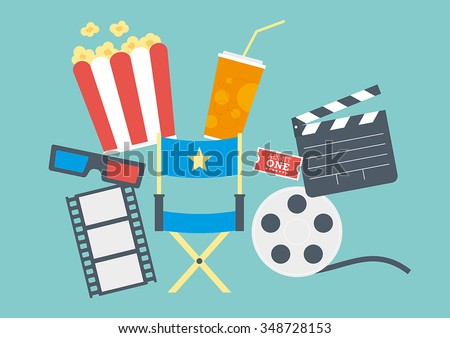 Movie items including popcorn, directors chair, ticket, clapperboard, 3D glasses and film reel - stock vector