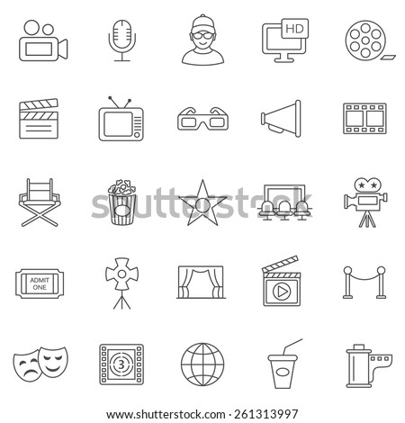 Movie line icons set.Vector - stock vector