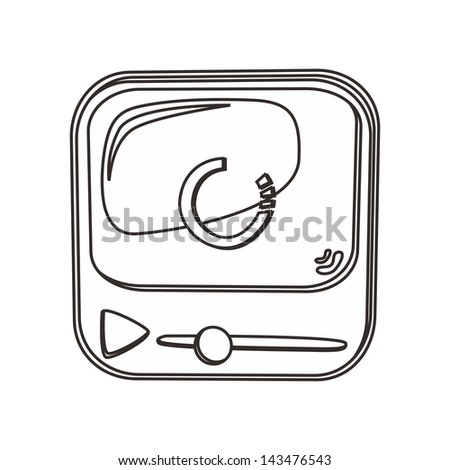 movie media player outline icon - stock vector