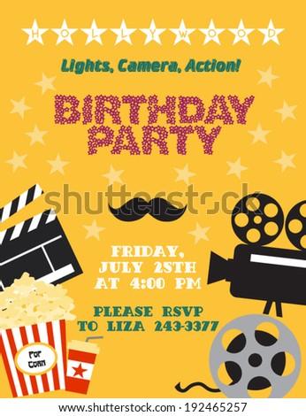 Movie night. Birthday party card - stock vector