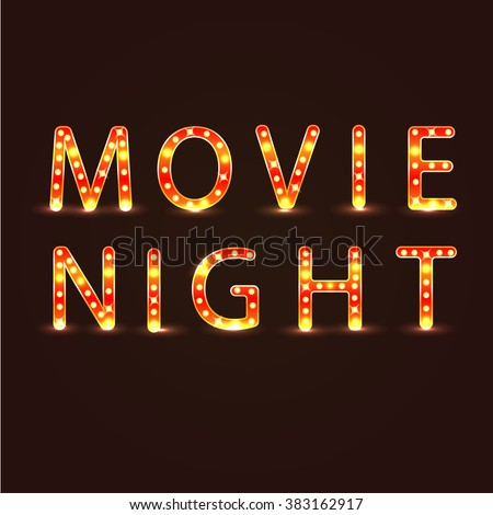 Movie night sign - stock vector