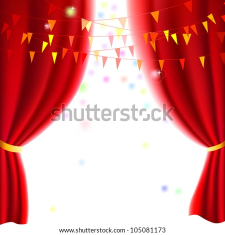 Movie or theater curtain with a party flags - stock vector