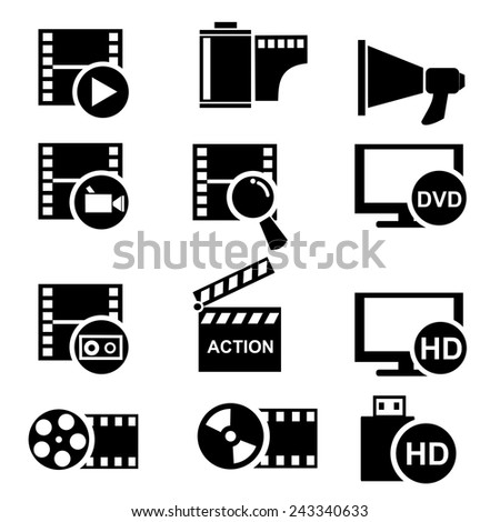 Movie play icons set.vector - stock vector