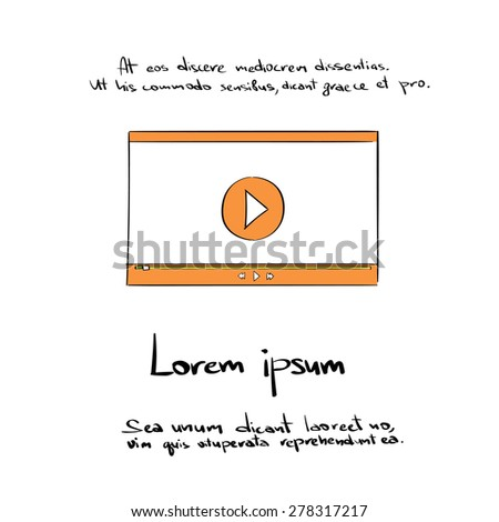 Movie Player Hand Draw Color Icon Vector Illustration - stock vector