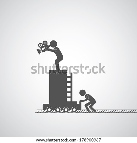movie production symbol  on gray background  - stock vector