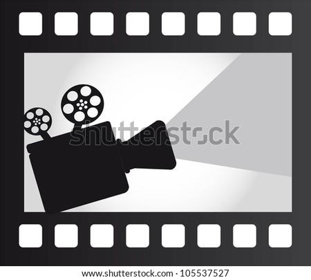 movie projector over film strip. vector illustration - stock vector