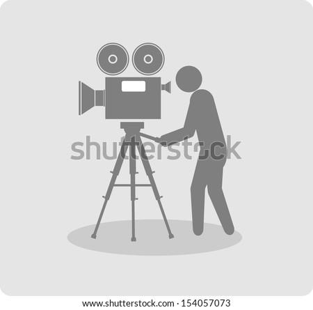 movie symbol on gray background - stock vector