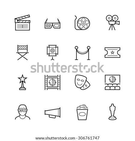 Movie theater and cinema thin line vector icon set - stock vector