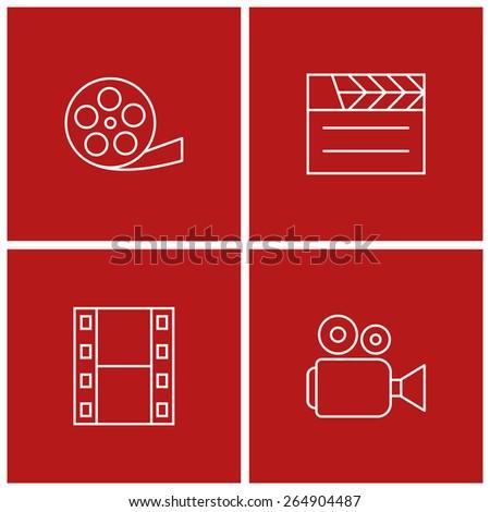 movie thin line icon set - stock vector
