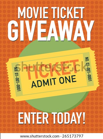 Movie ticket giveaway poster, ticket admit one, enter today - stock vector