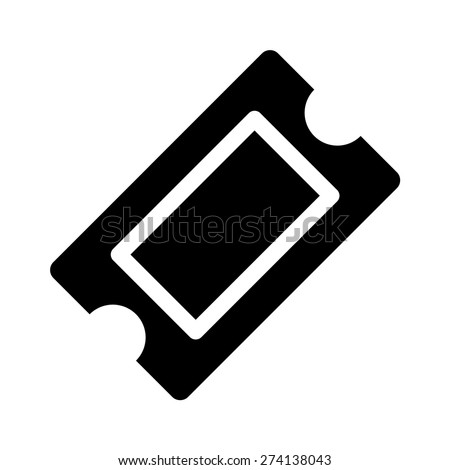 Movie ticket or theater ticket flat icon for apps and websites - stock vector
