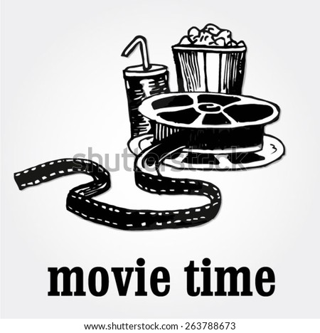 movie time - hand-drawn illustration  - stock vector