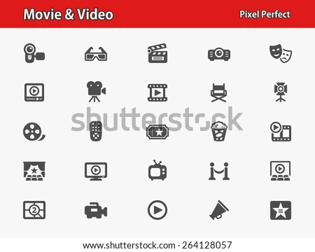 Movie & Video Icons. Professional, pixel perfect icons optimized for both large and small resolutions. EPS 8 format. - stock vector