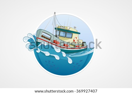 Moving fishing boat. Deep sea with wave. Round vector computer icons for applications or games. Logo and emblem template. Hand drawn Illustration - stock vector